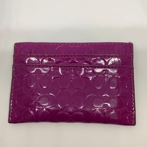 Coach Bags - Coach Patent Leather Monogram Maroon Card Holder